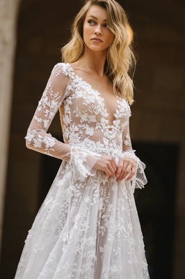 Gauzy Long Sleeves Tulle V Neck Wedding Dresses With Lace Appliques_3