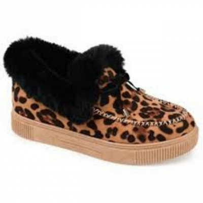 Fashion Daily Round Toe Fashion Warm Fur Flat boots On Sale_9
