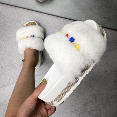 Colorblock Beaded Fluffy Slippers On Sale_1