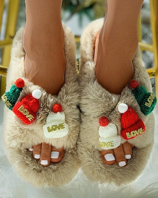 Christmas Pattern Cross Fluffy Slippers On Sale_14
