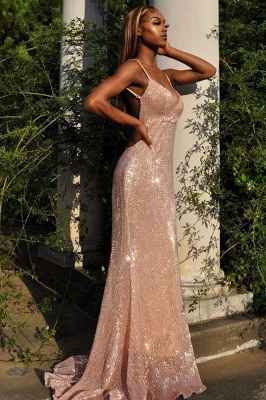 Glittery V Neck Nude Pink Satin Sequins Prom Dresses With Spaghetti Straps_2