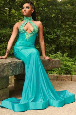 Sexy Halter Turquoise Mermaid Prom Dresses With Sequins_3