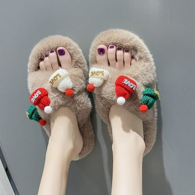 Christmas Pattern Cross Fluffy Slippers On Sale_9