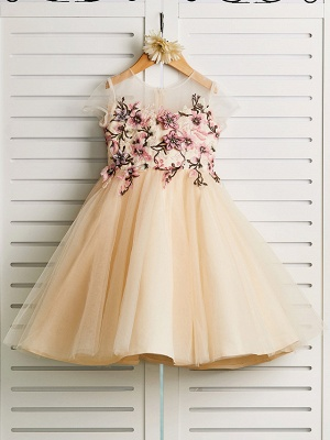 Cute Jewel Tulle Lace Satin Sleeveles Flower Girl Dress On Sale
