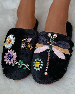 Floral Pattern Rhinestone Fluffy Slippers On Sale_11