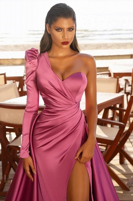 Gorgeous One Shoulder Long Sleeve Prom Dress With Split
