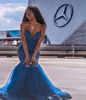 Gorgeous Sweetheart Dark Blue Mermaid Prom Dresses With Lace Appliques_4