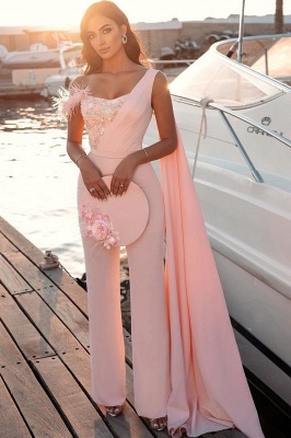 Chic One Shoulder Light Pink Sequins Sheath Prom Dresses With Fur_2