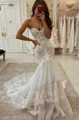 Sweetheart Tulle Ivory Ruffles Mermaid Wedding Dresses With Lace Appliques_1
