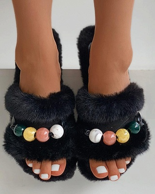 Colorblock Beaded Fluffy Slippers On Sale_6