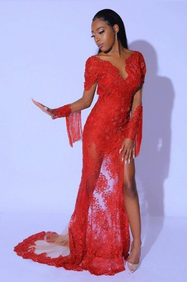 Glamorous Ruby Split Tassel Prom Dresses With Long Lace Sleeves_3