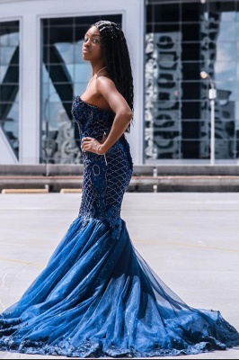 Gorgeous Sweetheart Dark Blue Mermaid Prom Dresses With Lace Appliques_2