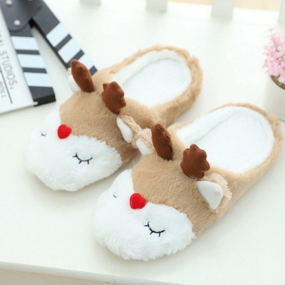 Moose Pattern Fluffy Slippers On Sale