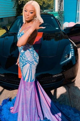 Stunning Satin Sequins Mermaid Evening Gowns With Fur_3