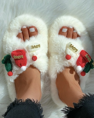 Christmas Pattern Cross Fluffy Slippers On Sale_18