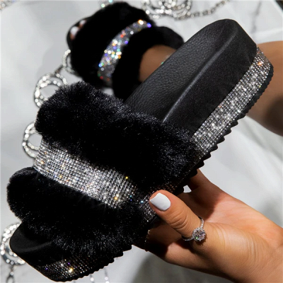 Fashion Rhinestone Woollen Shoes Women Woollen Slippers_6