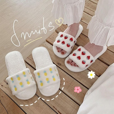 Pineapple Strawberry Pattern Fluffy Slippers On Sale_4