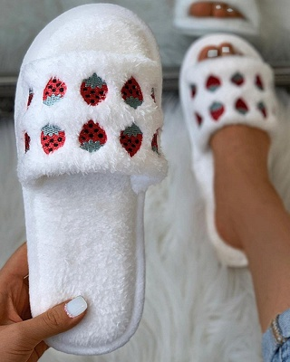 Pineapple Strawberry Pattern Fluffy Slippers On Sale_10