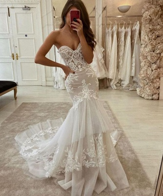 Sweetheart Tulle Ivory Ruffles Mermaid Wedding Dresses With Lace Appliques_2
