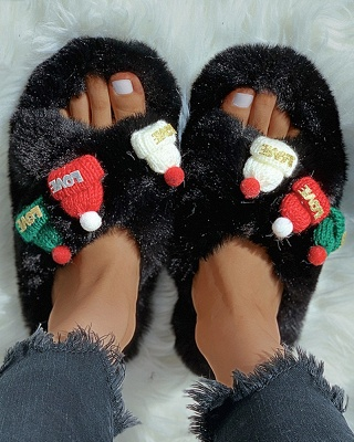 Christmas Pattern Cross Fluffy Slippers On Sale_7