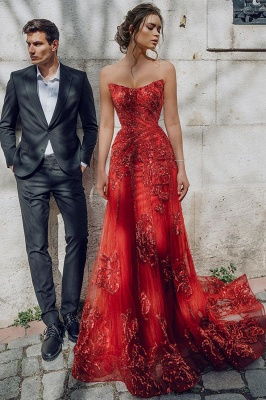 Beautiful Strapless Ruby Tulle Sequins Sheath Prom Dresses With Appliques_2