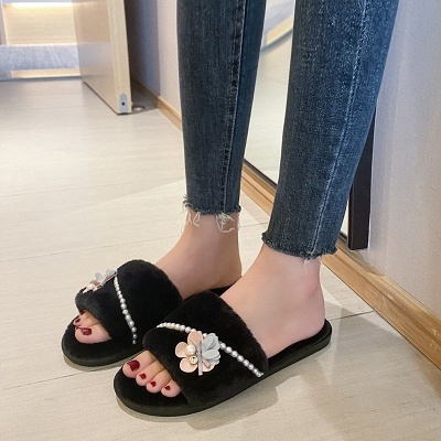 Floral Pattern Beaded Fluffy Slippers On Sale_6
