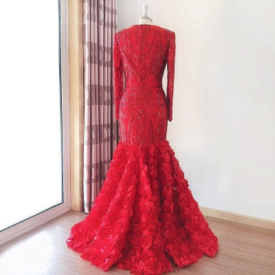 Elegant Mermaid Long Sleeves Lace Red Prom Dress with 3D FLowers On Sale_2