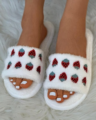 Pineapple Strawberry Pattern Fluffy Slippers On Sale_1