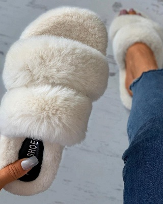 Fluffy Toe Post Casual Slipper On Sale_8