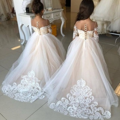 Princess Lace Tulle Flower Girl Dress With Sleeves On Sale_4