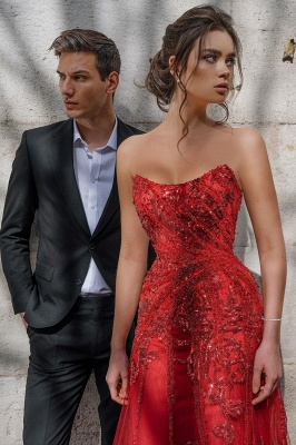 Beautiful Strapless Ruby Tulle Sequins Sheath Prom Dresses With Appliques_6