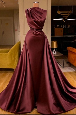 Gorgeous One Shoulder Burgundy Red Ruffles Prom Dress Long_2