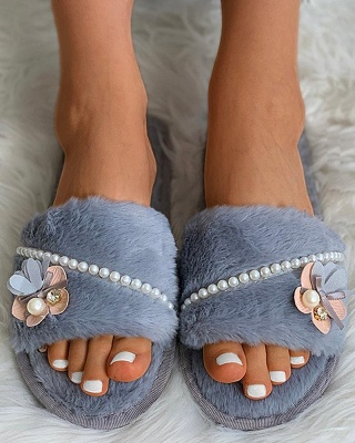 Floral Pattern Beaded Fluffy Slippers On Sale_12