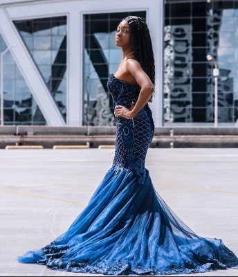 Gorgeous Sweetheart Dark Blue Mermaid Prom Dresses With Lace Appliques_5