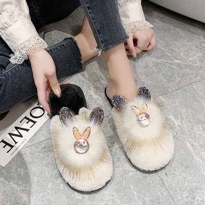 Rabbit Pattern Studded Fluffy Slippers On Sale