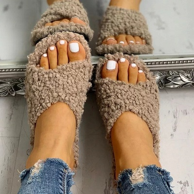 Solid Fluffy Crisscross Design Flat Sandals On Sale