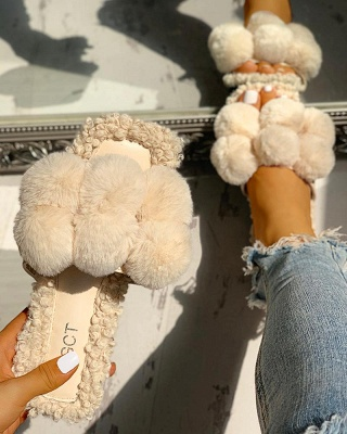 Villus Fluffy Casual Flat Sandals On Sale_9