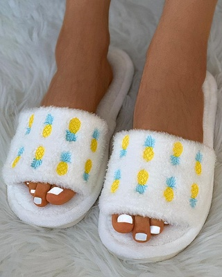 Pineapple Strawberry Pattern Fluffy Slippers On Sale_2