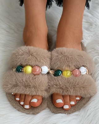 Colorblock Beaded Fluffy Slippers On Sale_18