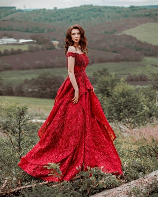 Glamorous Red Lace Off-Shoulder Beadings Prom Dress with Ruffles On Sale_2