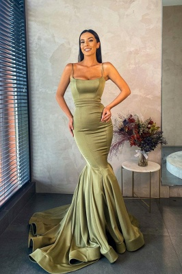 Gorgeous Spaghetti Straps Sage Green Mermaid Prom Dress Long