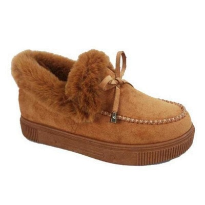 Fashion Daily Round Toe Fashion Warm Fur Flat boots On Sale_13