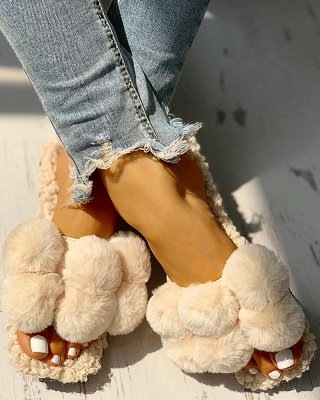 Villus Fluffy Casual Flat Sandals On Sale_10