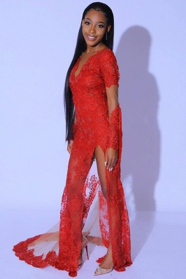Glamorous Ruby Split Tassel Prom Dresses With Long Lace Sleeves_4