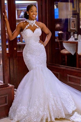 Sexy Halter White Mermaid Wedding Dress With Lace Appliques_1