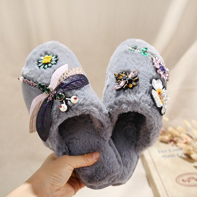 Floral Pattern Rhinestone Fluffy Slippers On Sale_4