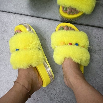 Colorblock Beaded Fluffy Slippers On Sale