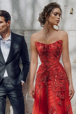 Beautiful Strapless Ruby Tulle Sequins Sheath Prom Dresses With Appliques_5