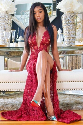 Glamorous Sleeveless Ruby Front-Split Mermaid Prom Dresses With Lace Appliques_2