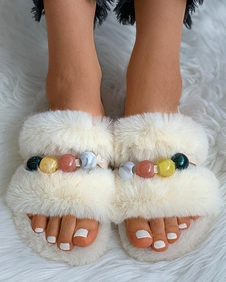 Colorblock Beaded Fluffy Slippers On Sale_14